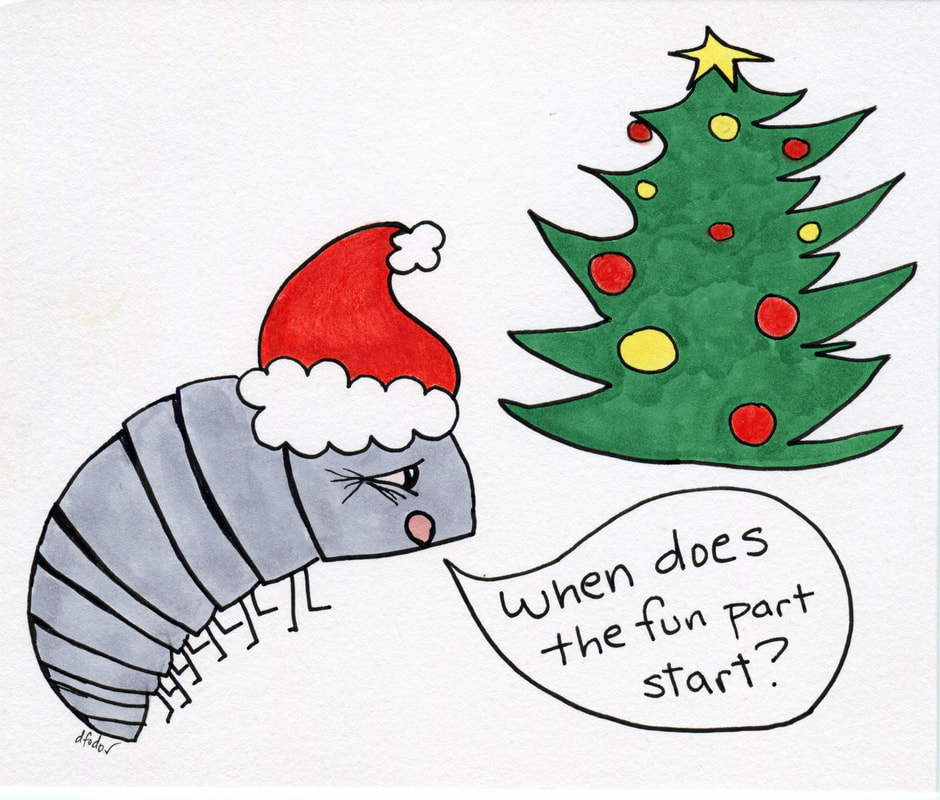 Cartoon of Christmas Pillbug